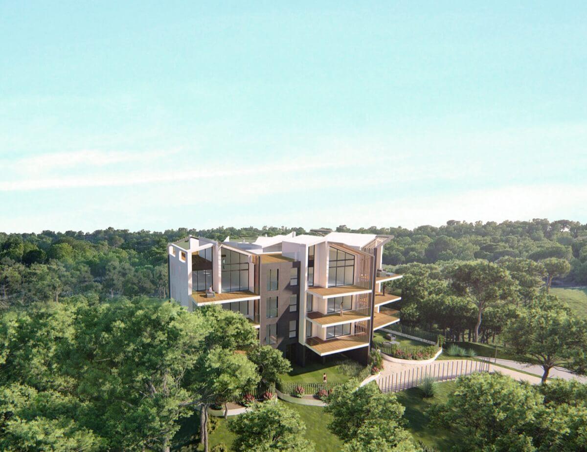 Render del residencial en Las Colinas e integración con el paisaje.