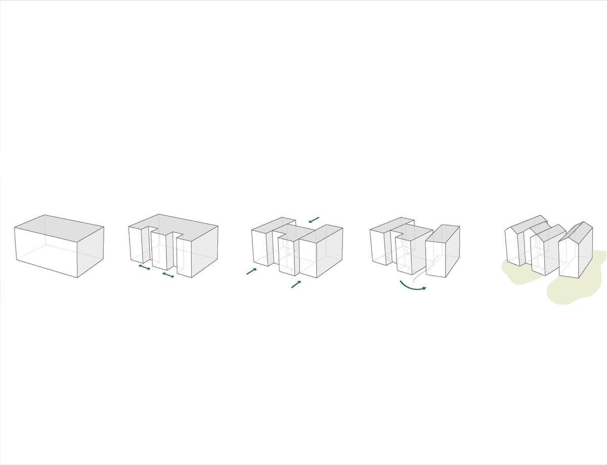 Boceto en el que se explica el proceso de creación de los bloques que conforman el residencial en el complejo Las Colinas, Orihuela