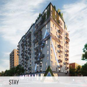 Proyectos de arquitectura. Fachada exterior de la promoción inmobiliaria Build to Rent de Stay by Kronos