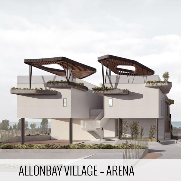 Proyectos de arquitectura. Render de la fachadas de la promoción inmobiliaria Allonbay Village Arena