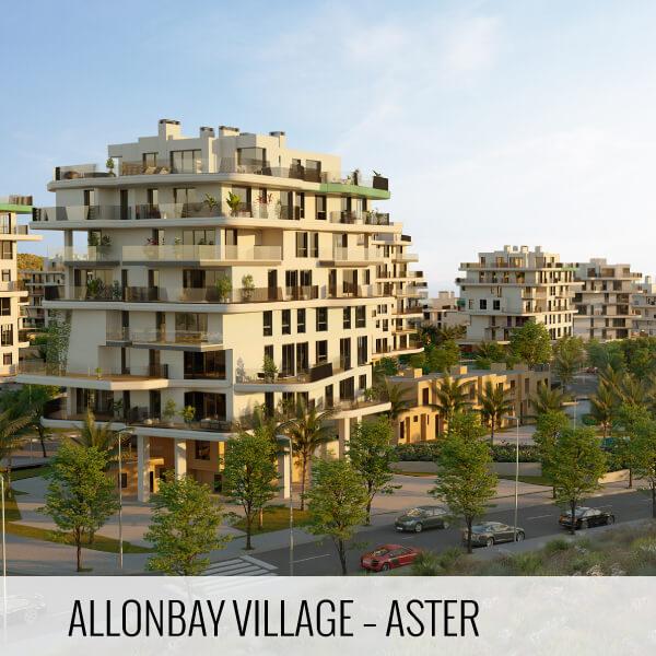 Proyectos de arquitectura. Render fachadas traseras de la promoción inmobiliaria Allonbay Village Aster