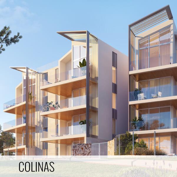Proyectos de arquitectura. Render de las fachadas de la Promoción residencial Las Colinas.