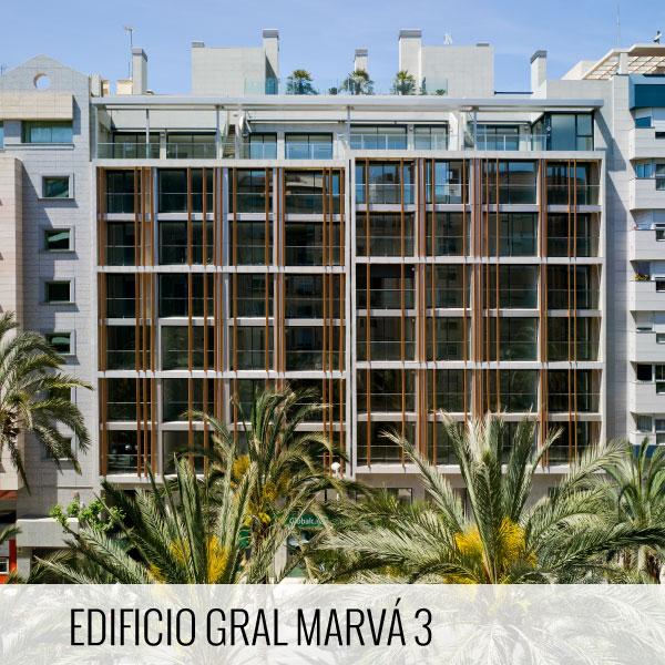 Proyectos de arquitectura. Fachada principal de la promoción residencial Edificio General Marvá, Alicante Luceros