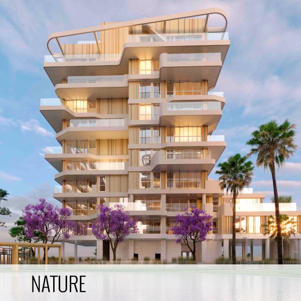 Proyectos de arquitectura. Render de la fachada de la promoción residencial Nature by Kronos Homes.