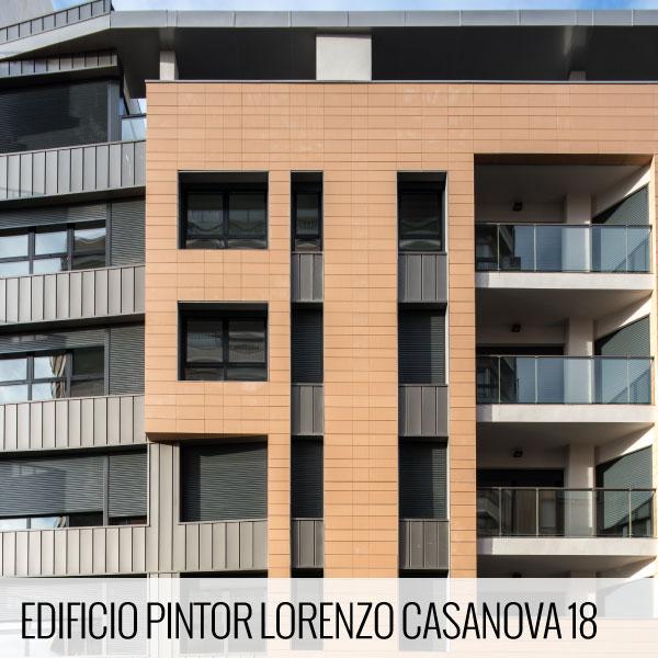 Proyectos de arquitectura. Detalles de la fachada de la promoción residencial Edificio Pintor Lorenzo Casanova, 18