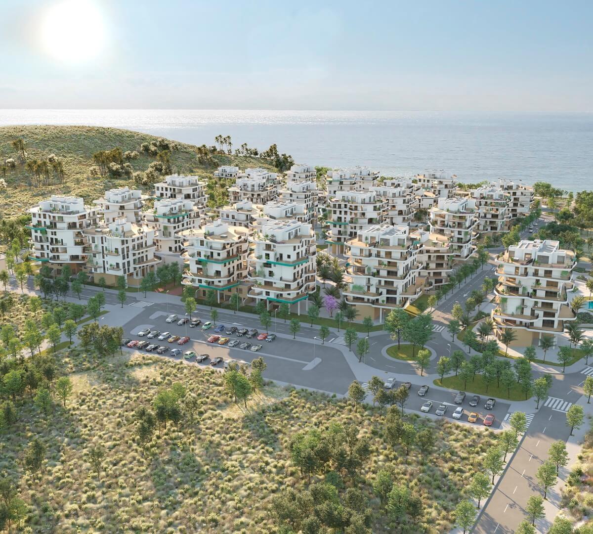 Render residencial de lujo en Allonbay Village frente al mar mediterráneo
