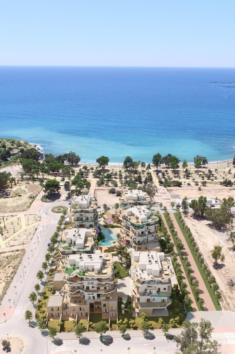 Render vista aérea trasera de Allonbay Village frente al mar Mediterráneo