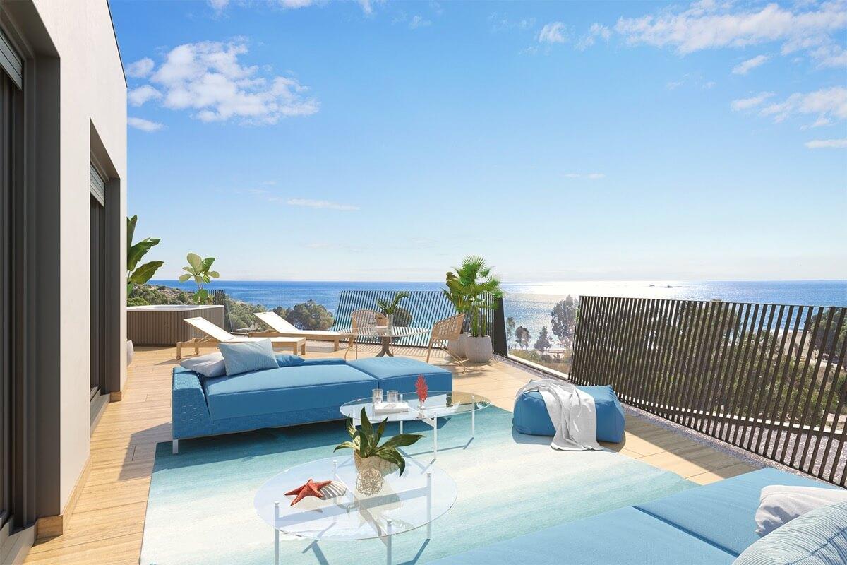 Render de la terraza de Allonbay Village con visuales al mar Mediterráneo.