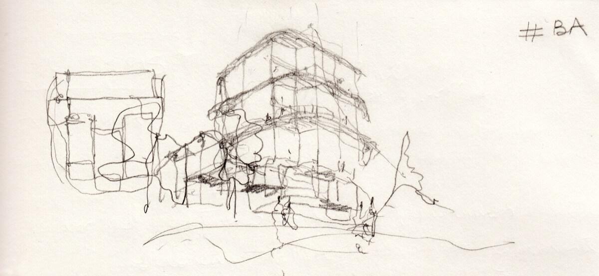 Boceto realizado por ADORAS atelier architecture de Allonbay Village