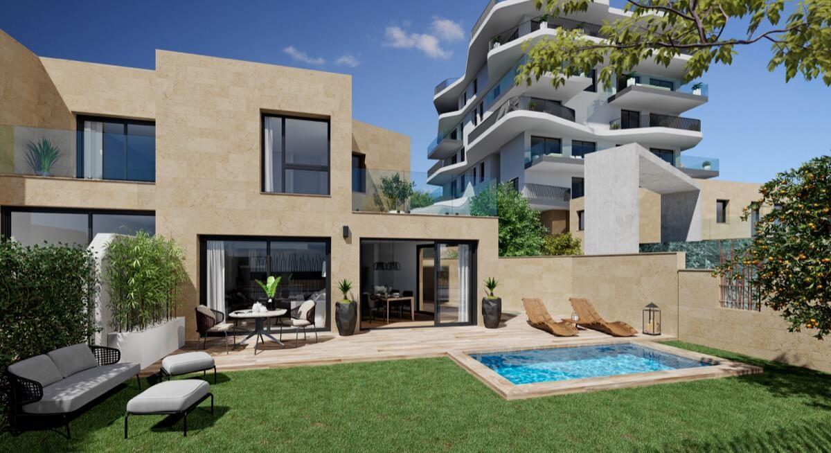 Render de la terraza con piscina de los adosados de Allonbay Village AQUA. Vista frontal con edificio al fondo.