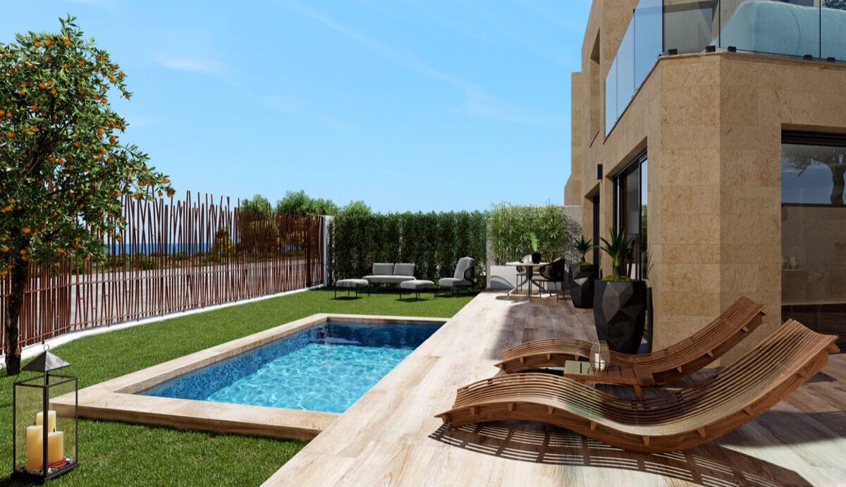 Render de la terraza con piscina de los adosados de Allonbay Village AQUA.