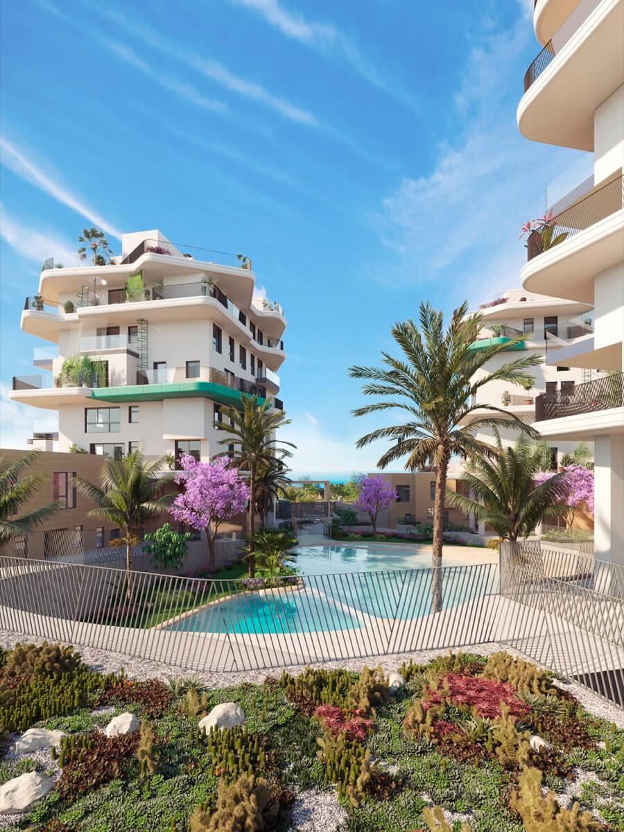 Render urbanización Allonbay Village desde la zona superior del spa. Visuales hacia las torres y hacia el mar Mediterráneo.