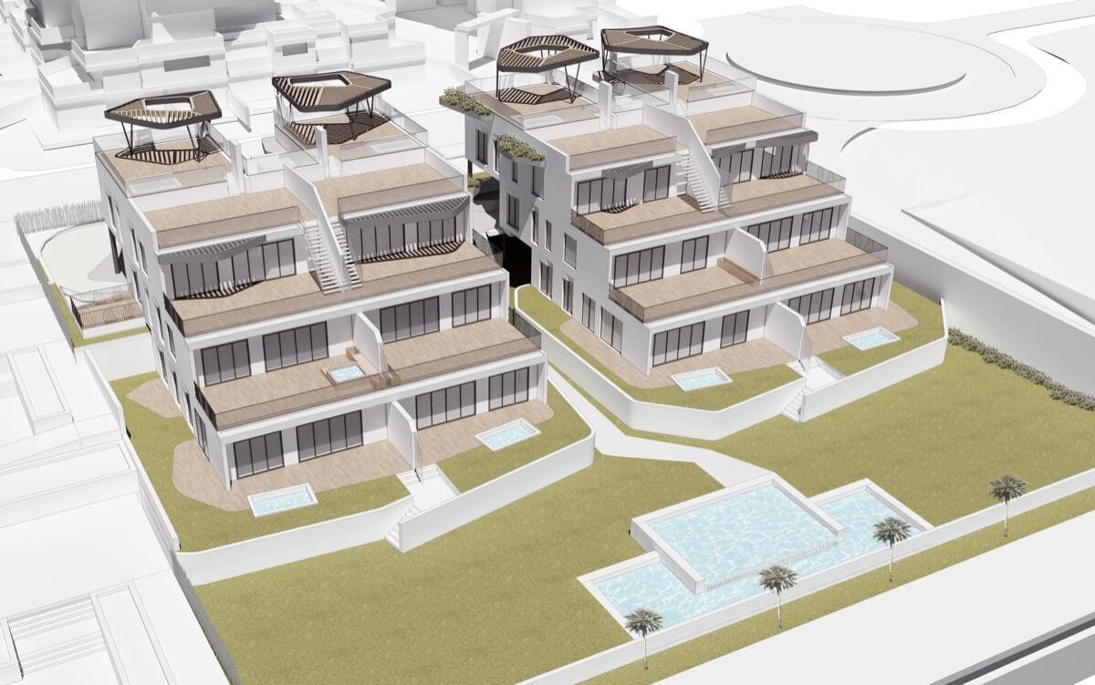 Render frontal del residencial de lujo Allonbay Village Arena. Destacan las zonas comunes y la piscina en diferentes alturas.