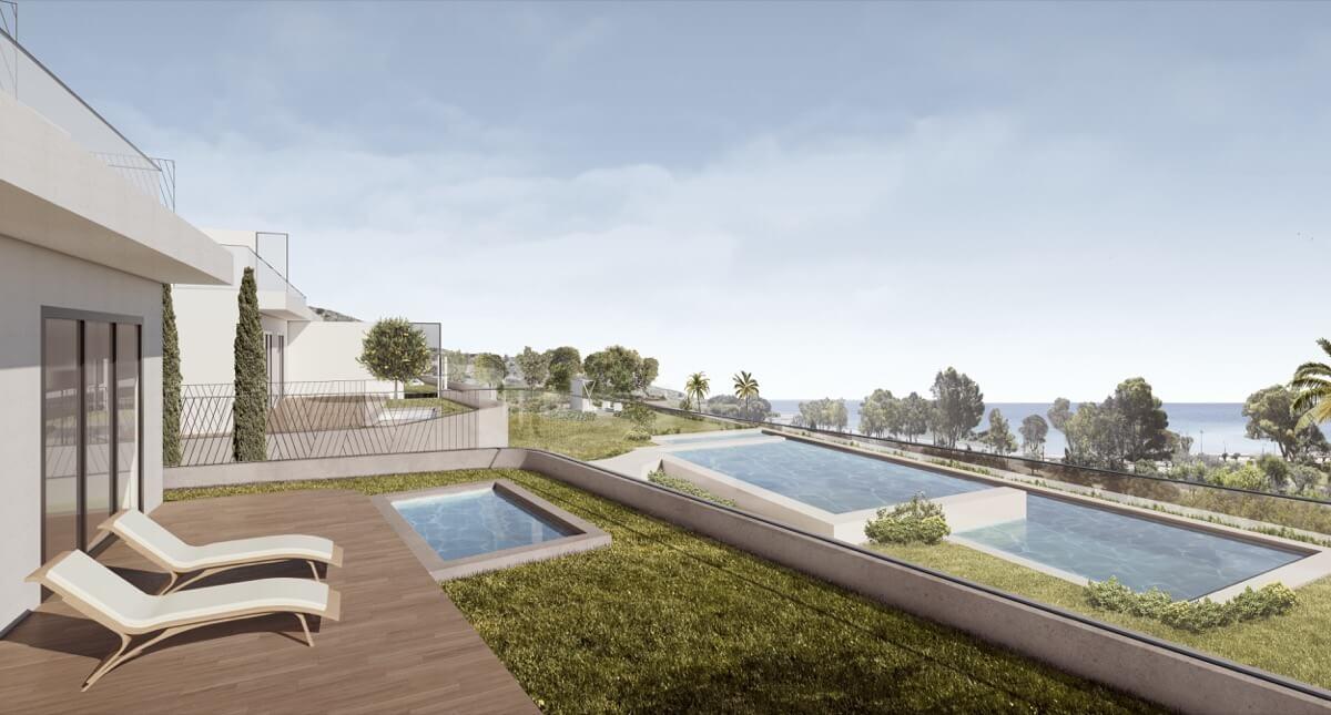 Render de terraza y piscina a diferentes alturas en residencial de lujo Allonbay Village Arena