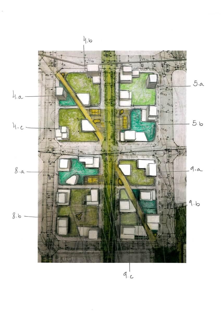 Maqueta de Allonbay Village separado por sectores. Destaca la diagonal imaginaria que rompe con la ortogonalidad del sector y conecta con la Torre de Hércules.