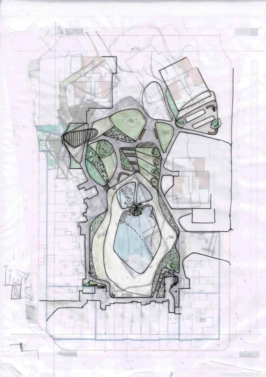 Boceto urbanización Allonbay Village Aster. Destacan las zonas verdes y la piscina.