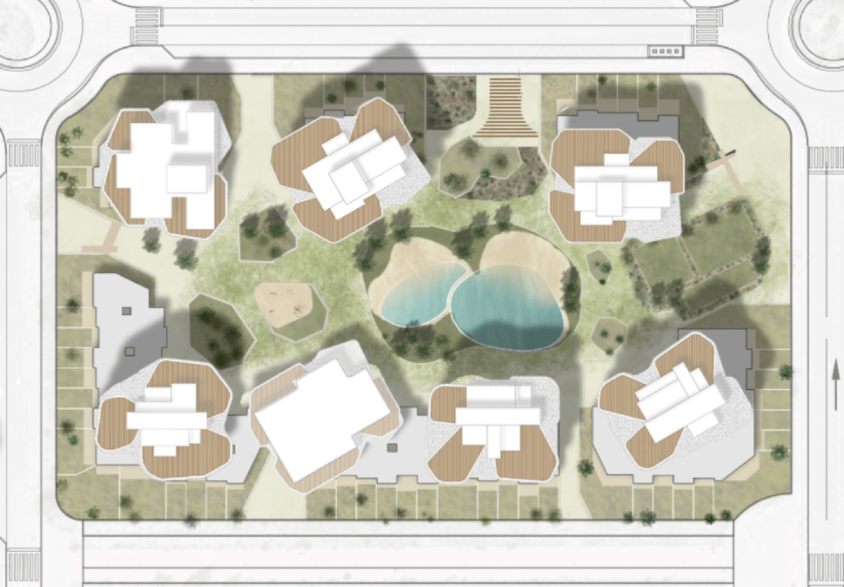 Planta de Allonbay Village Aster. Destaca la integración de los bloques con el paisaje.