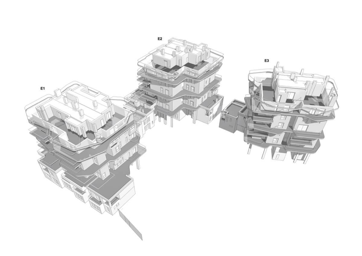Render inicial de los bloques de Allonbay Village Áster. Destacan los edificios en altura y las casas adosadas en planta baja.