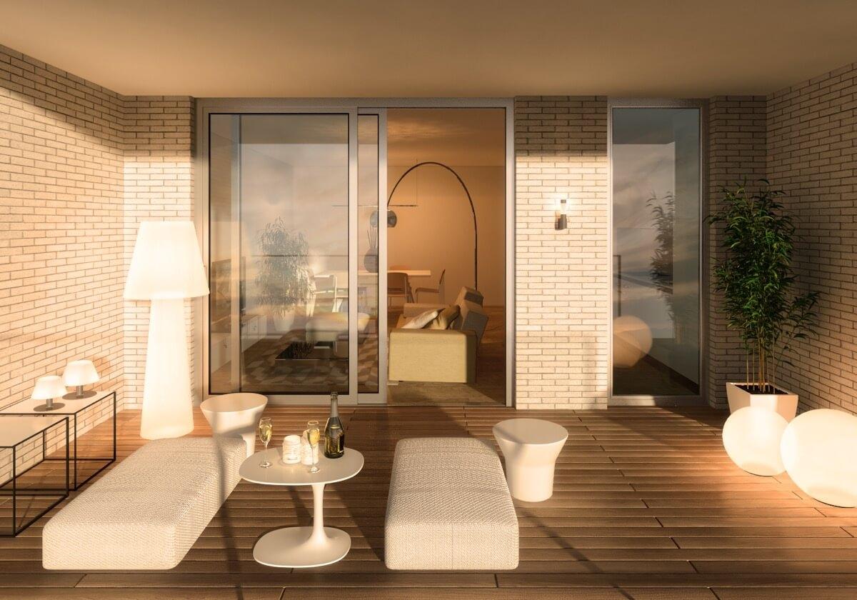 Render terraza de vivienda con mesas, sofás y entrada al salón.