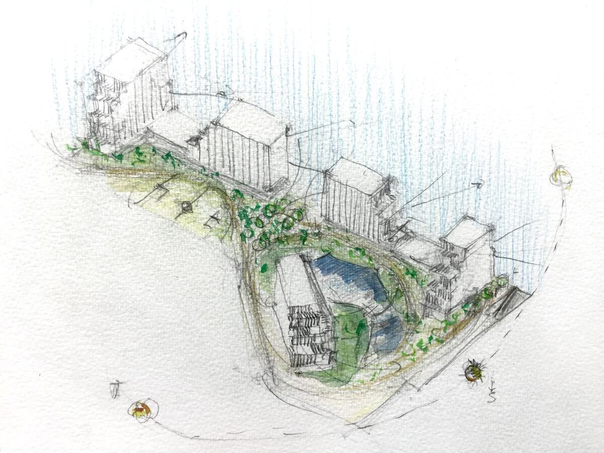 Boceto de arquitectura dibujado a mano de la urbanización y edificios de Ítaca.