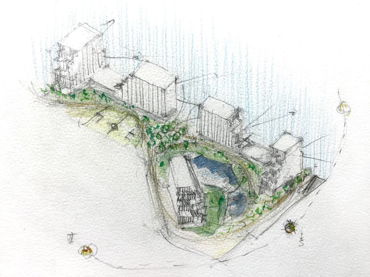 Boceto realizado por Jesús Gallego de la urbanización y bloques que forman la urbanización