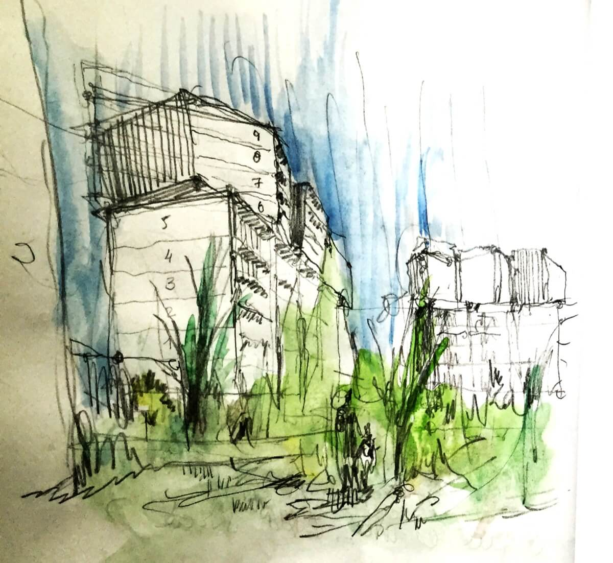 Boceto de arquitectura dibujado a mano. Jardines y residencial Ítaca.