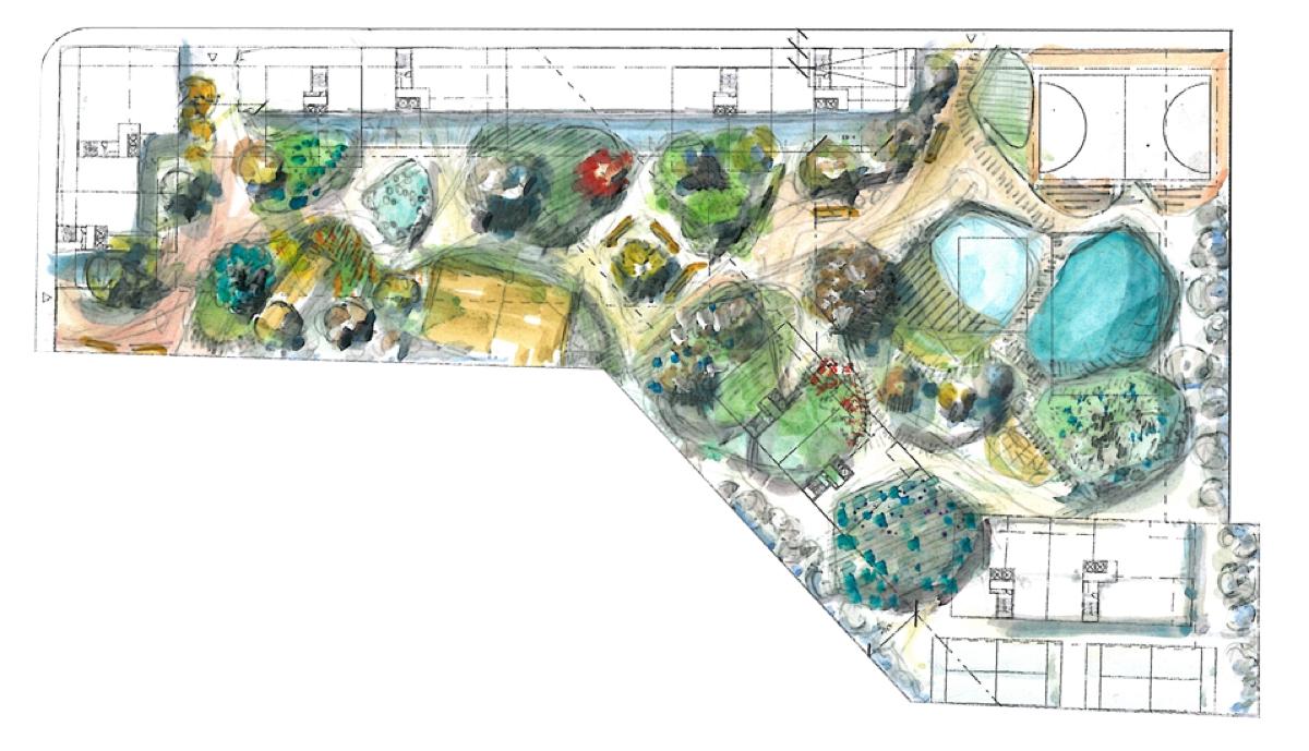 Boceto de la urbanización, ubicación de vegetación y de los diferentes bloques que forman la urbanización