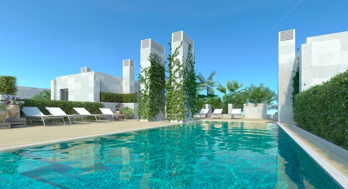 Render del solarium y piscina del Residencial
