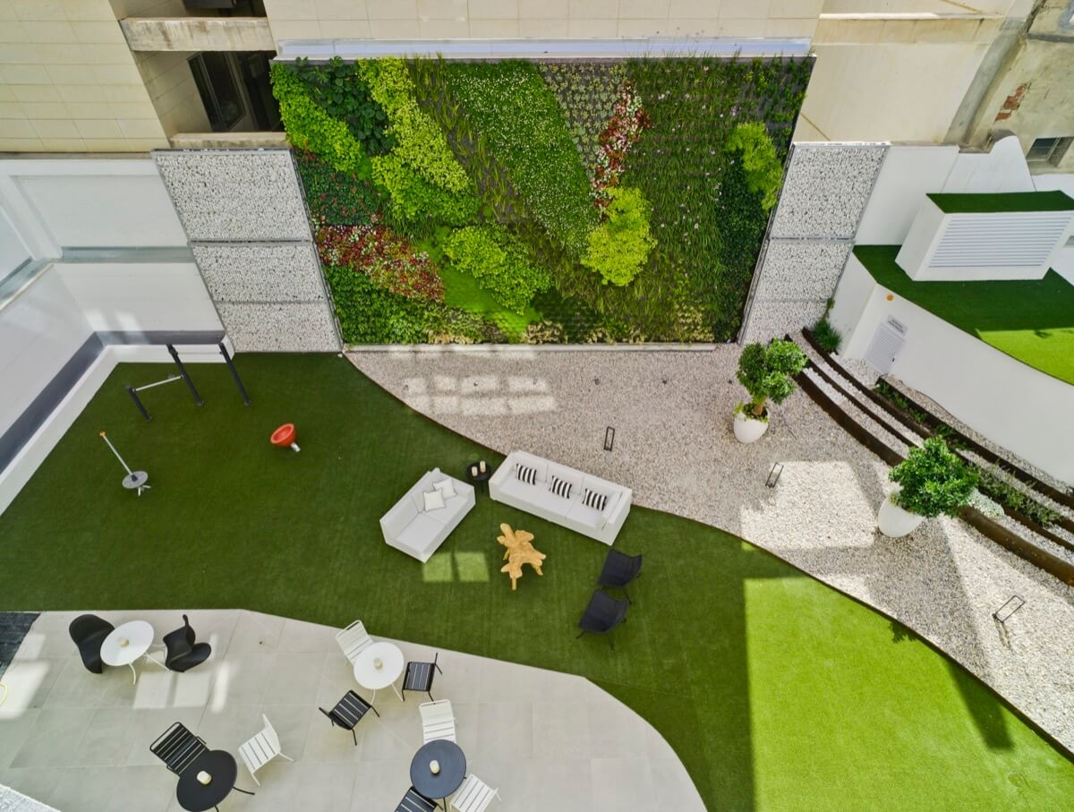 Fotografía picada desde vivienda del jardín vertical del Edificio General Marvá 3.