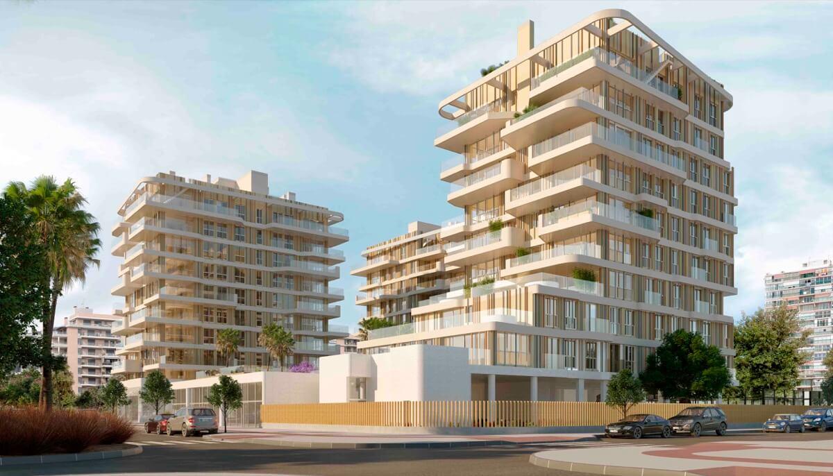 Render con vista general desde la calle de las fachadas de los 3 bloques que conforman el Residencial Nature.