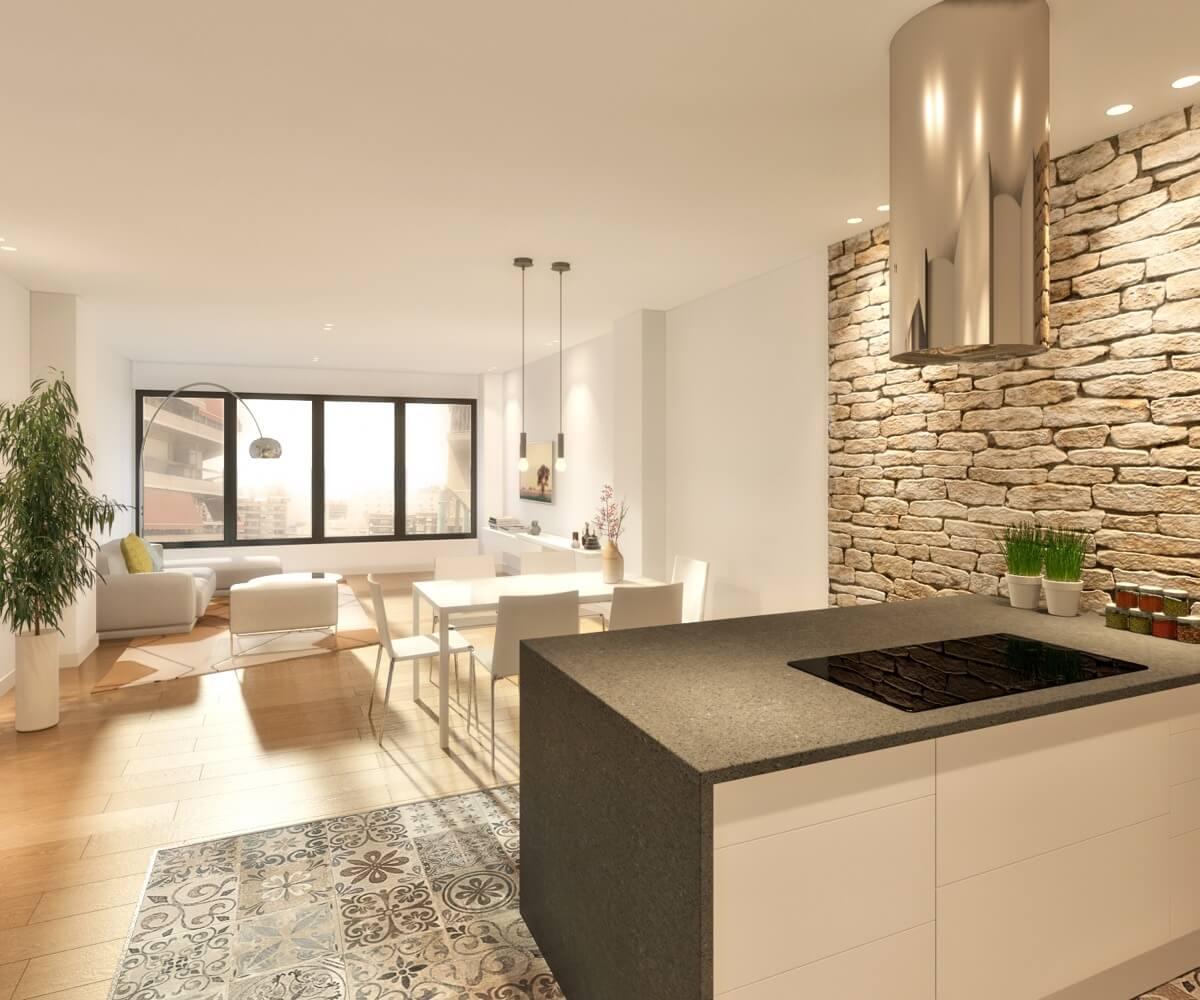 Render interior de vivienda del Edificio Pintor Lorenzo Casanova. Cocina integrada en el salón, dividida visualmente a través de un muro de mampostería y el pavimento de baldosas hidráulicas.