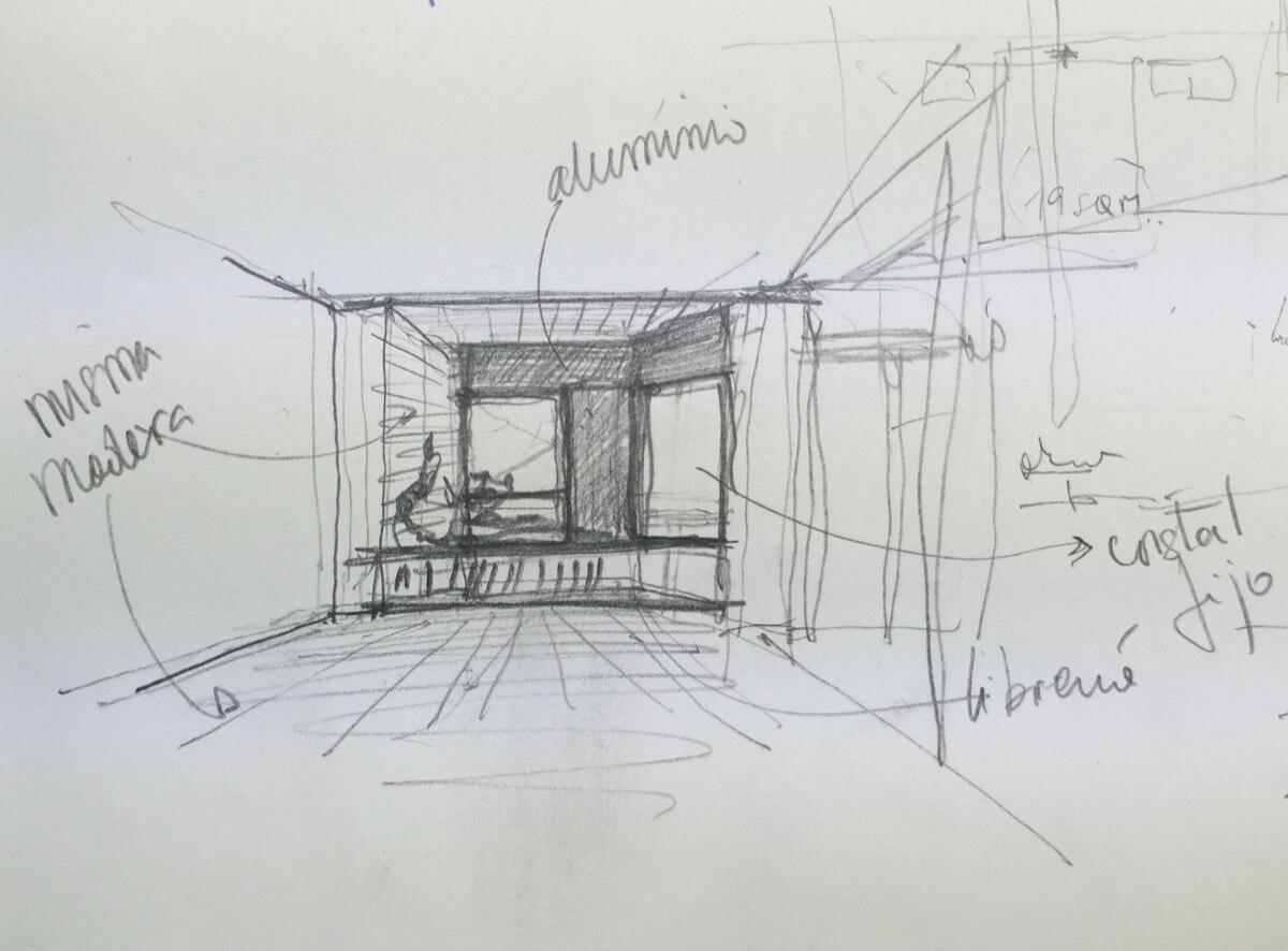 Boceto de diseño de interiores realizado a mano