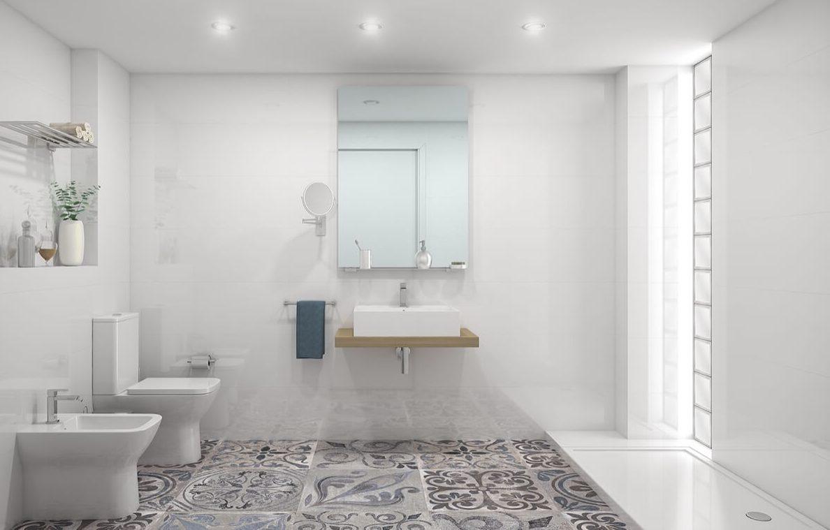 Render interior del cuarto de aseo de las viviendas del Edificio Pintor Lorenzo Casanova. Destaca la entrada de luz natural a través del pavés (ladrillo de vidrio) y el pavimento de baldosas hidráulicas.