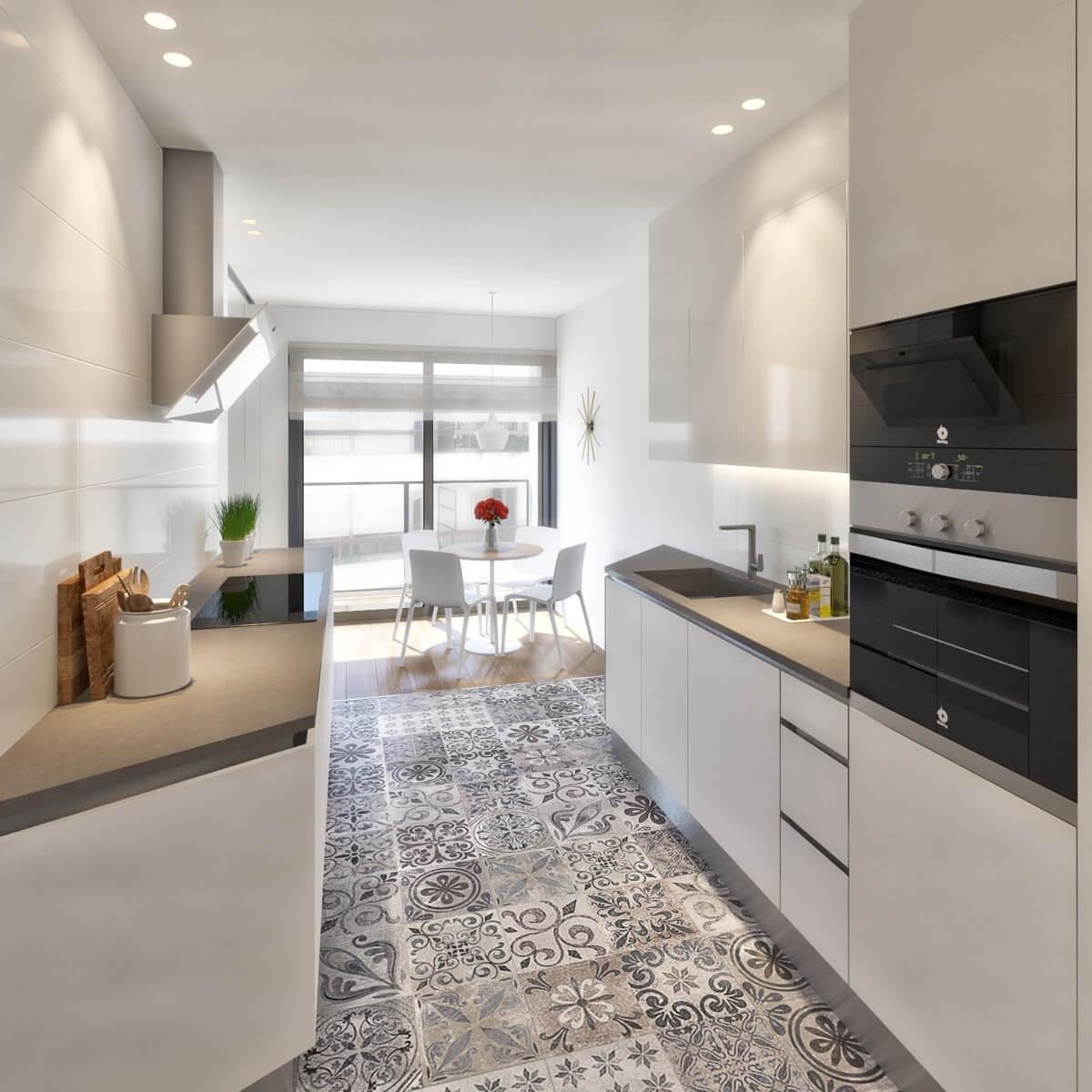 Render interior de la cocina del Edificio Pintor Lorenzo Casanova. Destacan las tonalidades blancas, las luminarias y el pavimento de baldosas hidráulicas.