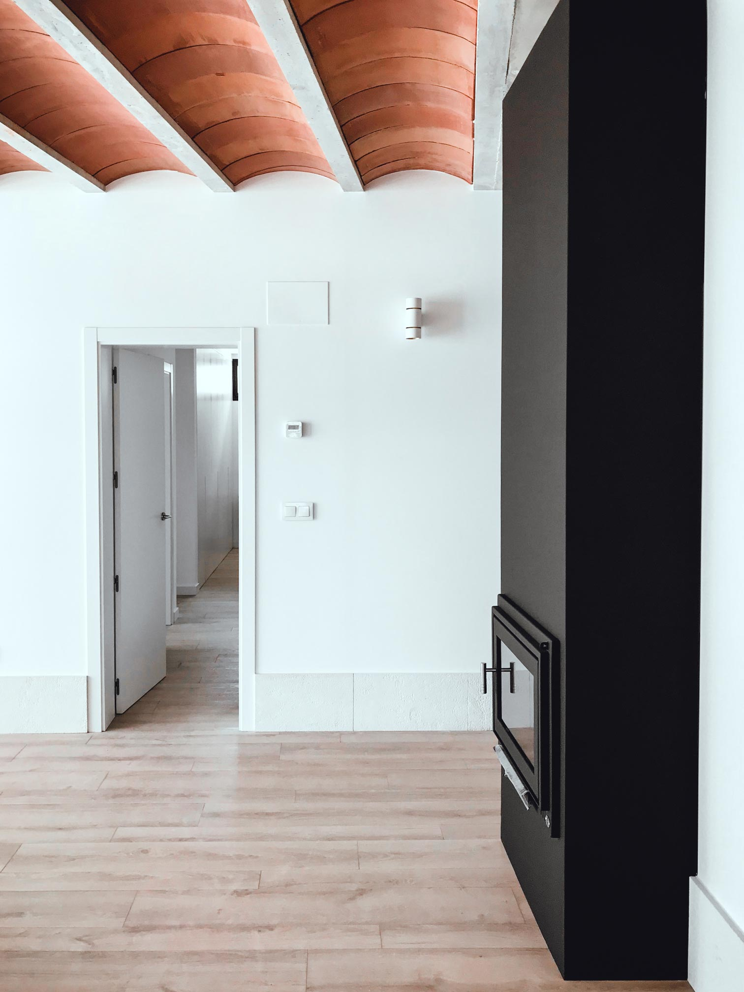 Salón con chimenea y techo de bovedillas cerámicas, arquitectura unifamiliar.