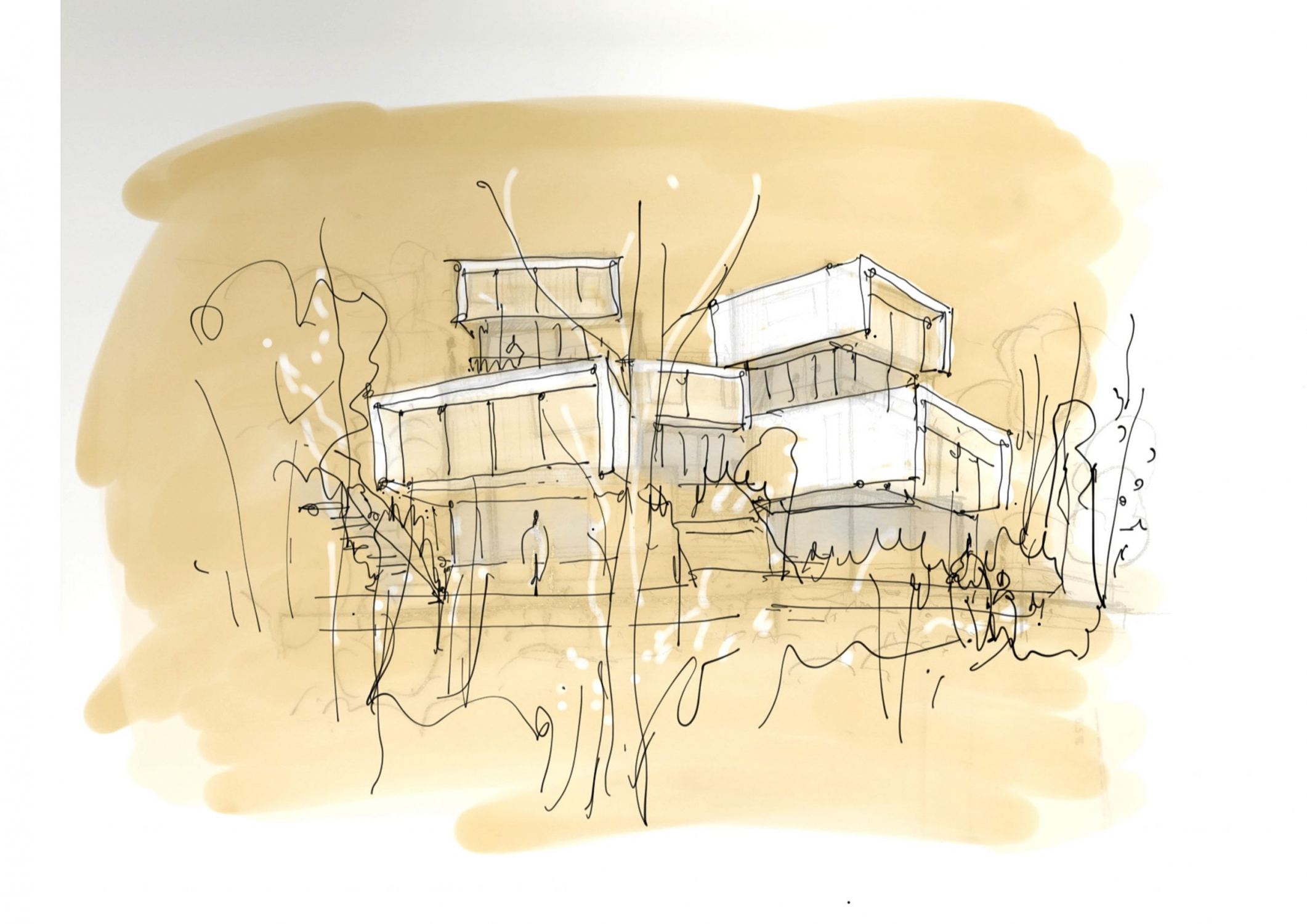 Boceto inicial del residencial en el complejo Las Colinas, Orihuela